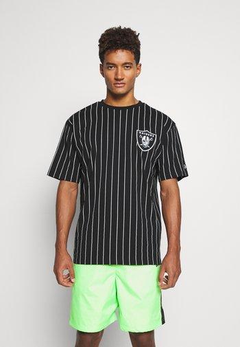 LAS VEGAS RAIDERS NFL PINSTRIPE LEFT LOGO TEE - Club wear - black