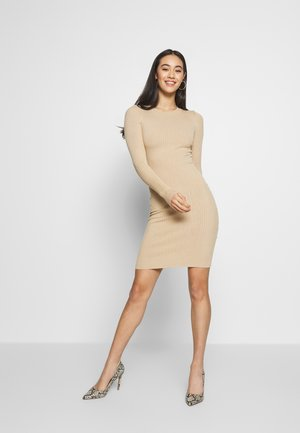 Knitted jumper mini high neck dress - Etuikjoler - sand