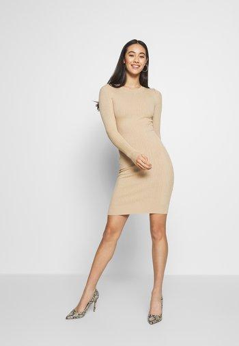 Knitted jumper mini high neck dress