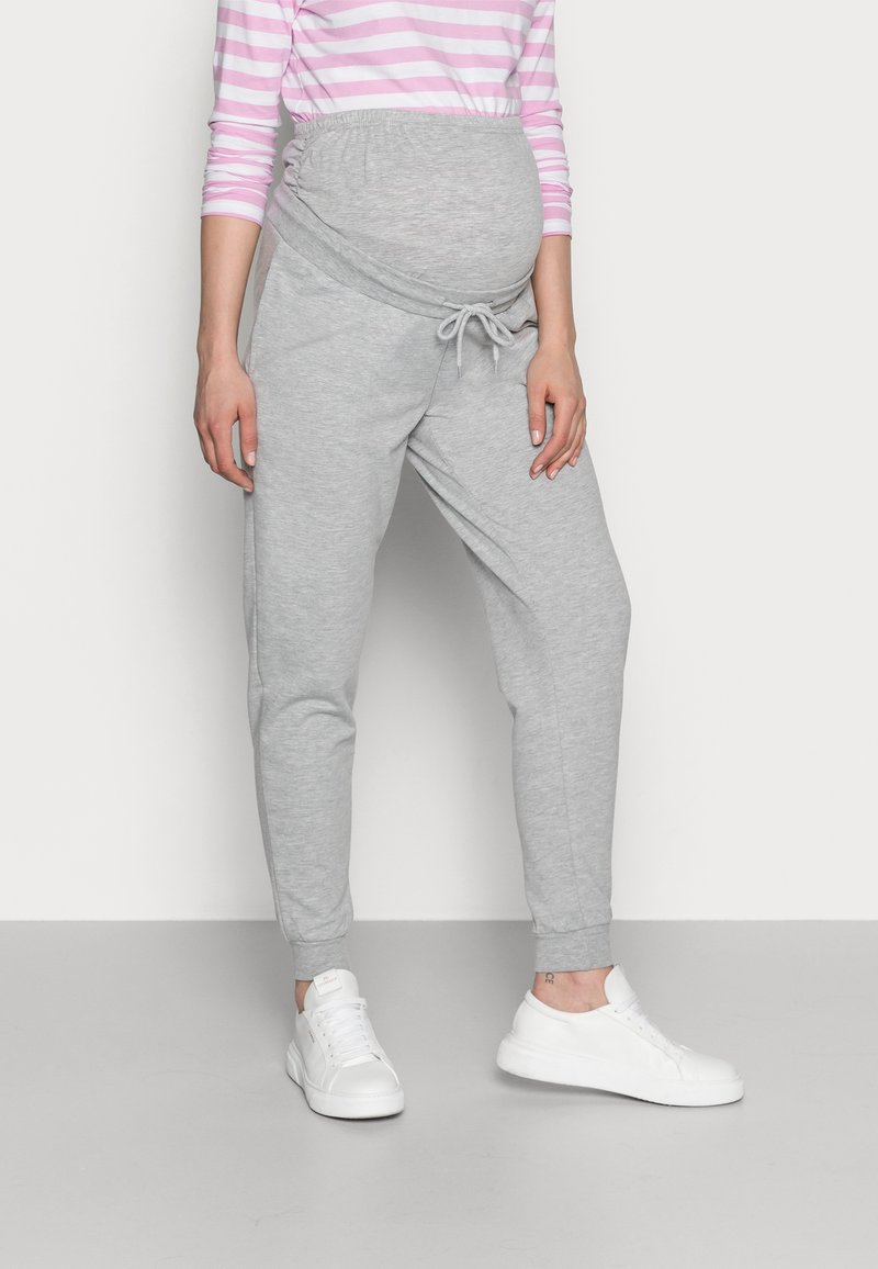 Anna Field MAMA - SLIM FIT JOGGERS - OVERBUMP - Tracksuit bottoms - light grey