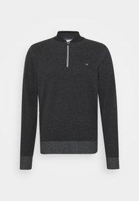 BASEBALL ZIP - Stickad tröja - black