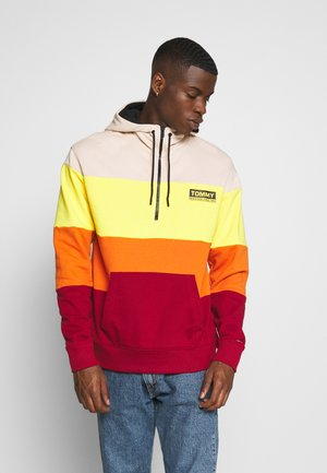 HALF ZIP COLORBLOCK HOODIE - Sweat à capuche - wine red/multi