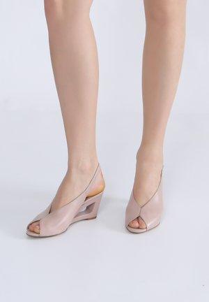 Wedge sandals - adobe rose