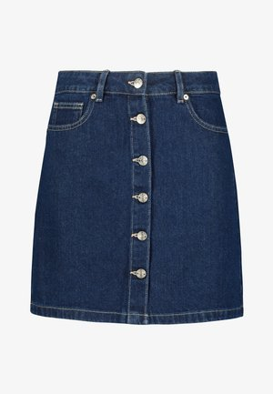 BUTTON THROUGH - A-line skirt - blue