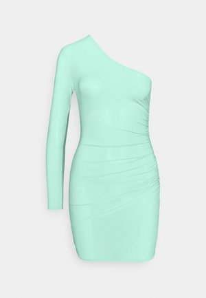 SLINKY ONE SLEEVE RUCHED MINI DRESS - Jerseykjole - green