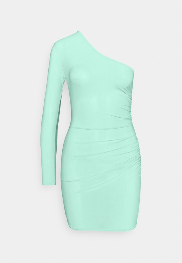 SLINKY ONE SLEEVE RUCHED MINI DRESS - Vestido ligero - green