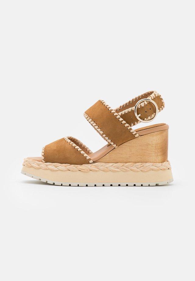 VAUDES - Platform sandals - tabac