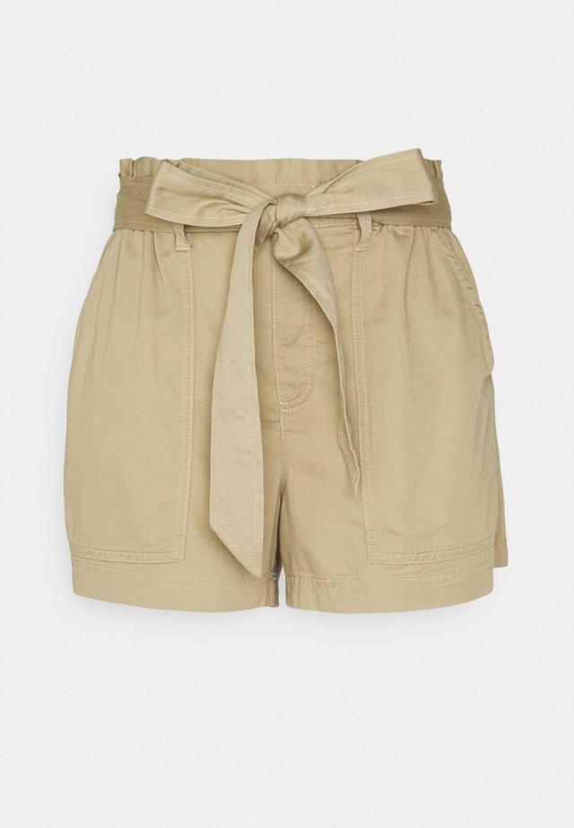 TIE WAIST PULL ON - Shorts - tan
