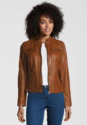 RUBY - Leather jacket - tobacco