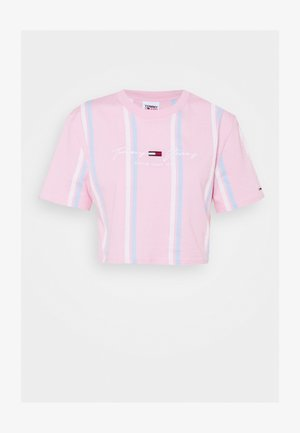STRIPE CROP TEE - Print T-shirt - romantic pink