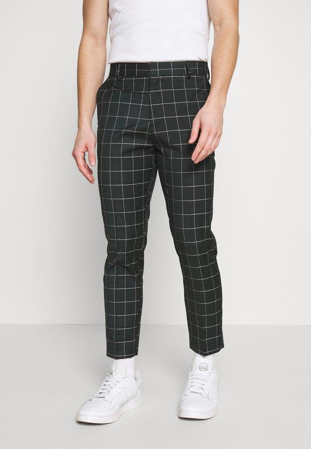 GRID CROP  - Spodnie materiałowe - 38-dark green