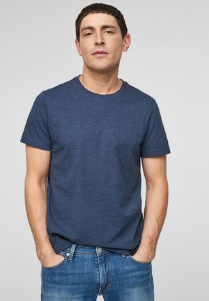 MELANGE-EFFEKT - Basic T-shirt - blue melange