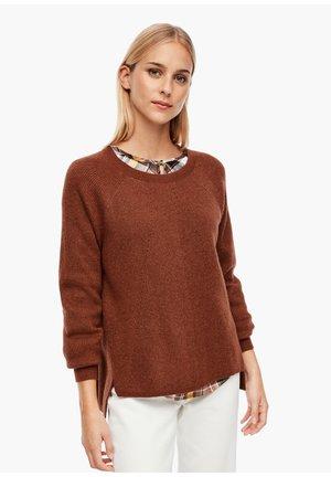 AUS GLITZER-STRUKTURSTRICK - Jumper - brown knit