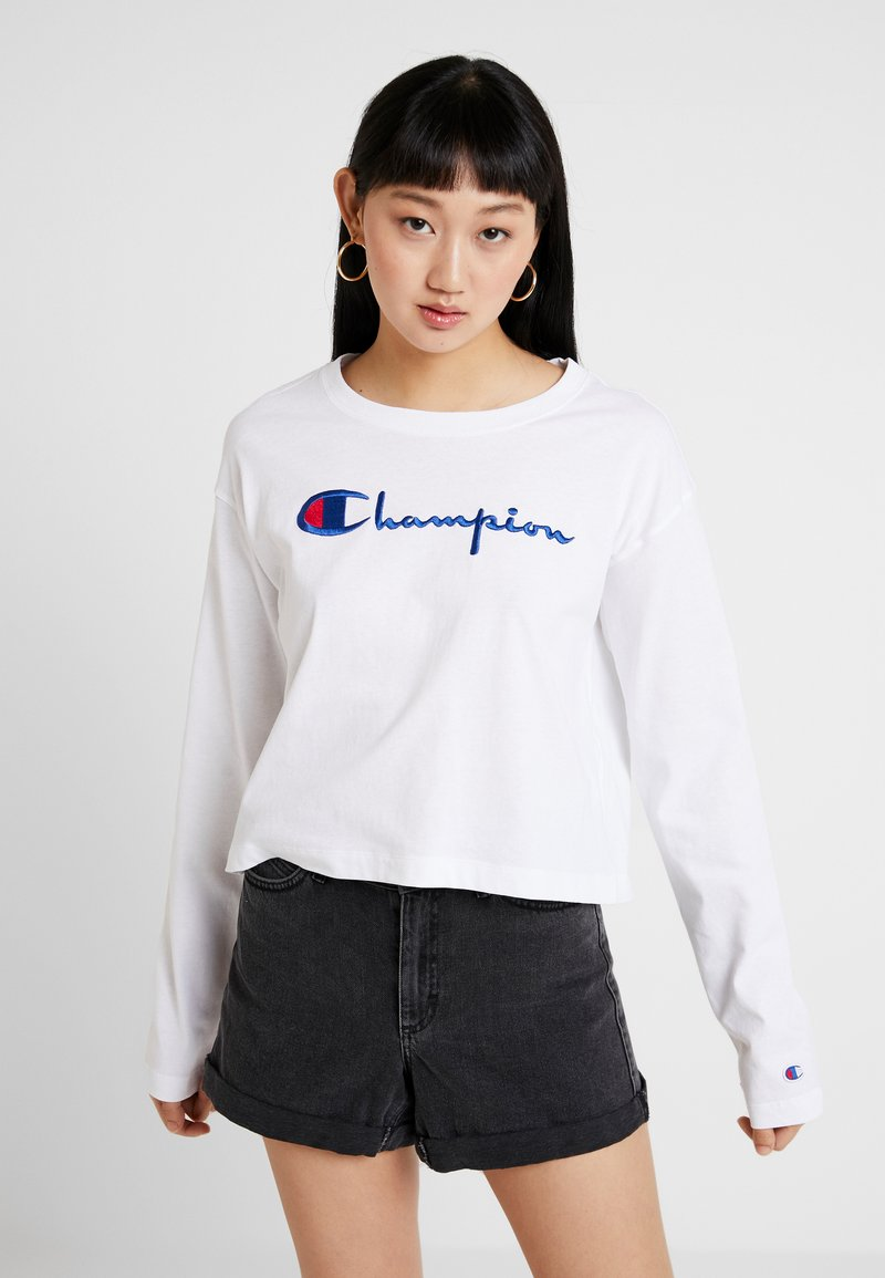Champion Reverse Weave - BIG SCRIPT CROPPED - Top s dlouhým rukávem - white