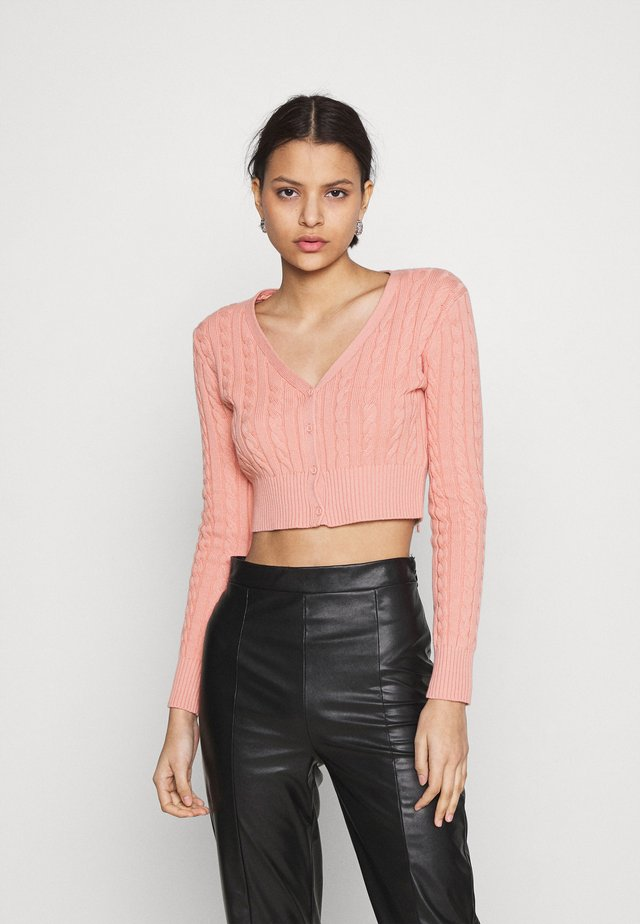 CABLE KNIT CROPPED  - Kardigan - dusty peach
