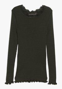 Rosemunde - SILK-MIX T-SHIRT REGULAR LS W/LACE - Langærmede T-shirts - dark green - 0