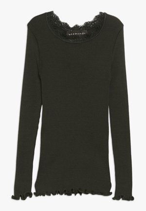 SILK-MIX T-SHIRT REGULAR LS W/LACE - Top sdlouhým rukávem - dark green