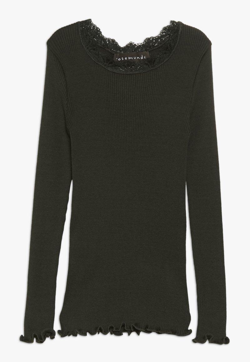 Rosemunde - SILK-MIX T-SHIRT REGULAR LS W/LACE - Langærmede T-shirts - dark green