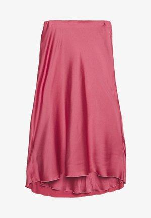 HIGH WAIST MIDI SKIRT - A-line skirt - coral