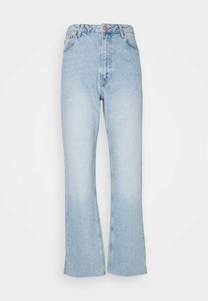 HIGH WAIST RAW - Straight leg jeans - light blue