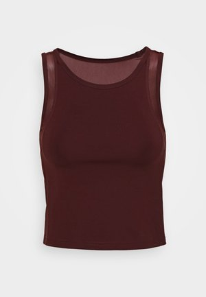 CROP TOP WITH INSERT - Toppe - dark brown