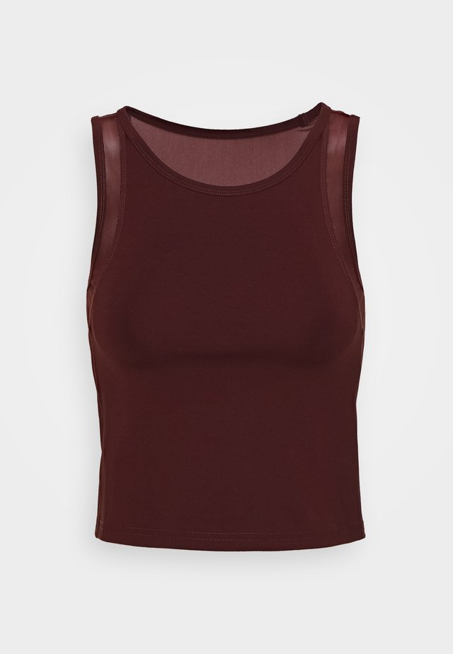 CROP TOP WITH INSERT - Top - dark brown