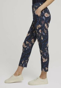 TOM TAILOR - LOOSE FIT - Trousers - navy floral design - 3