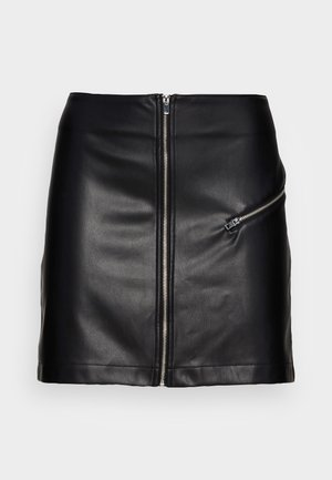 ONLBETTY ZIP MINI FAUX - A-lijn rok - black