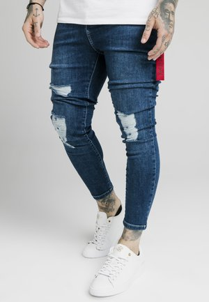 DISTRESSED  WITH ZIP DETAIL - Vaqueros pitillo - light blue
