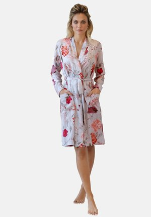 Dressing gown - grau apricot hellblau