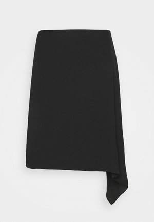 DRAPE FLAT TWILL - Mini skirt - black