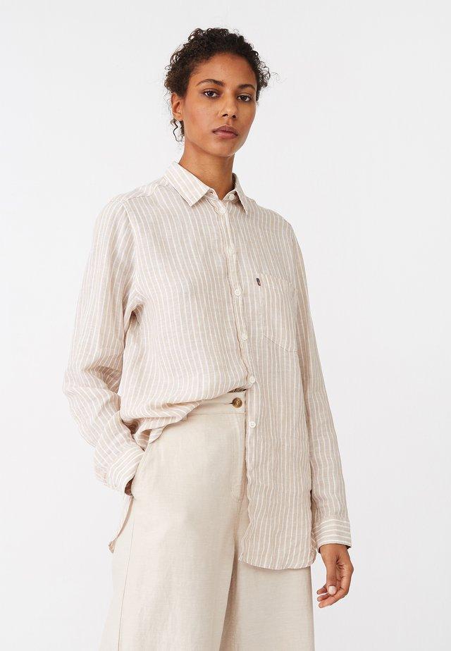 Button-down blouse - beige/white
