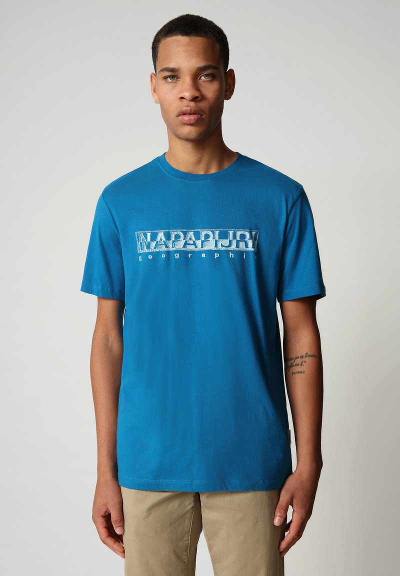 Napapijri - SALLAR - Print T-shirt - mykonos blue