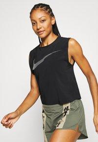 Nike Performance - RUN TANK PLEATED - Sports shirt - black/reflective black - 3