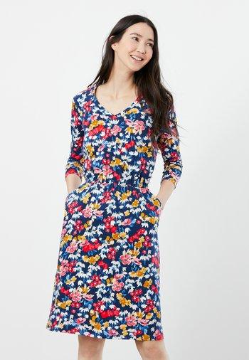 Jersey dress - blau geblümt
