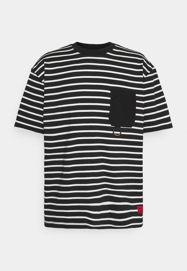 STRIPES TEE - T-shirt con stampa - black/cream