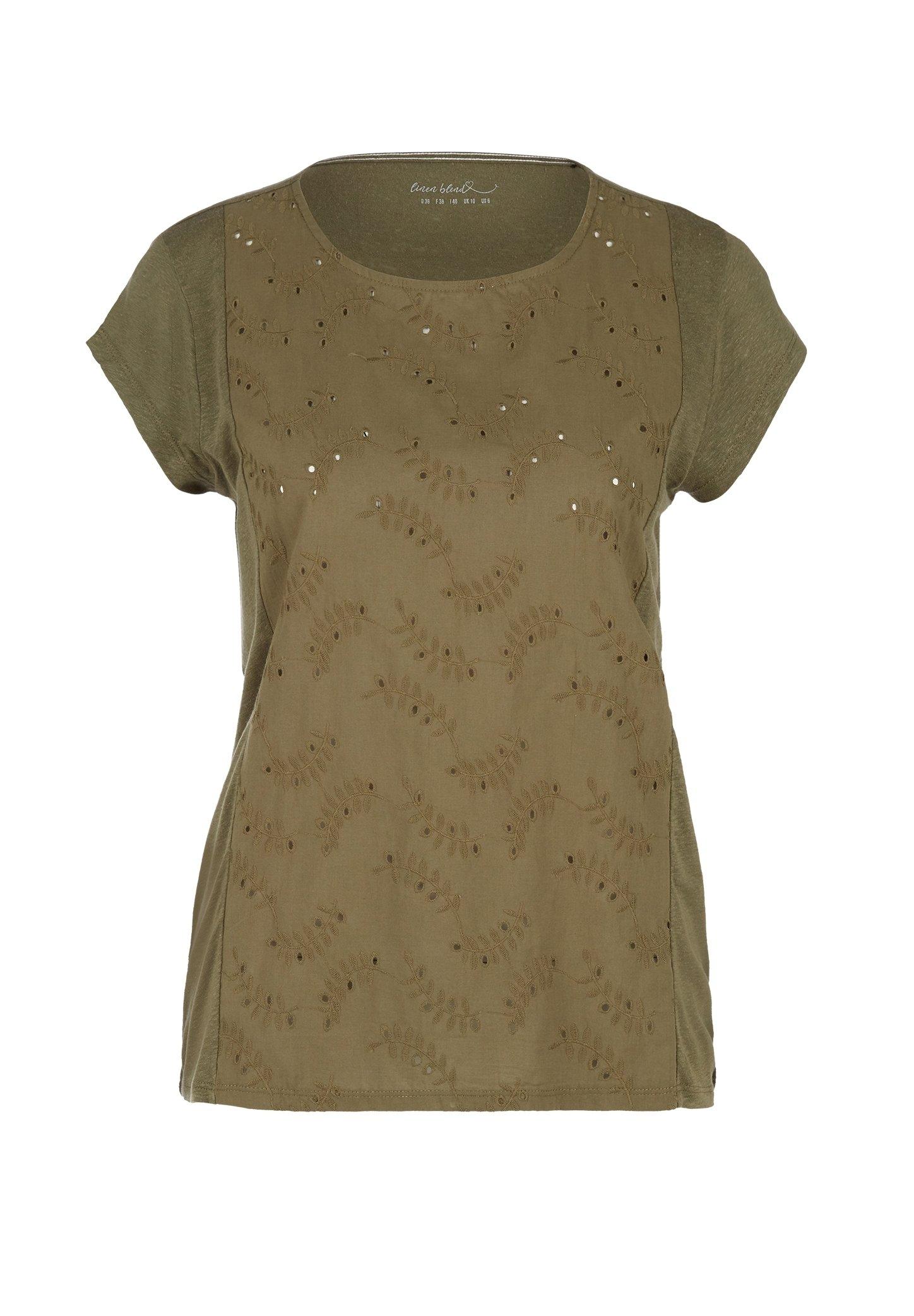 Damen MIT LOCHSTICKEREI - T-Shirt basic