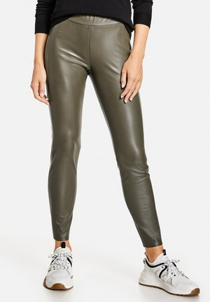 Leather trousers - khaki