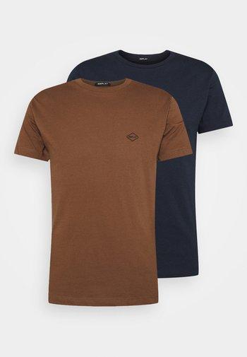 2 PACK - T-shirt - bas - aviator blue/cigar