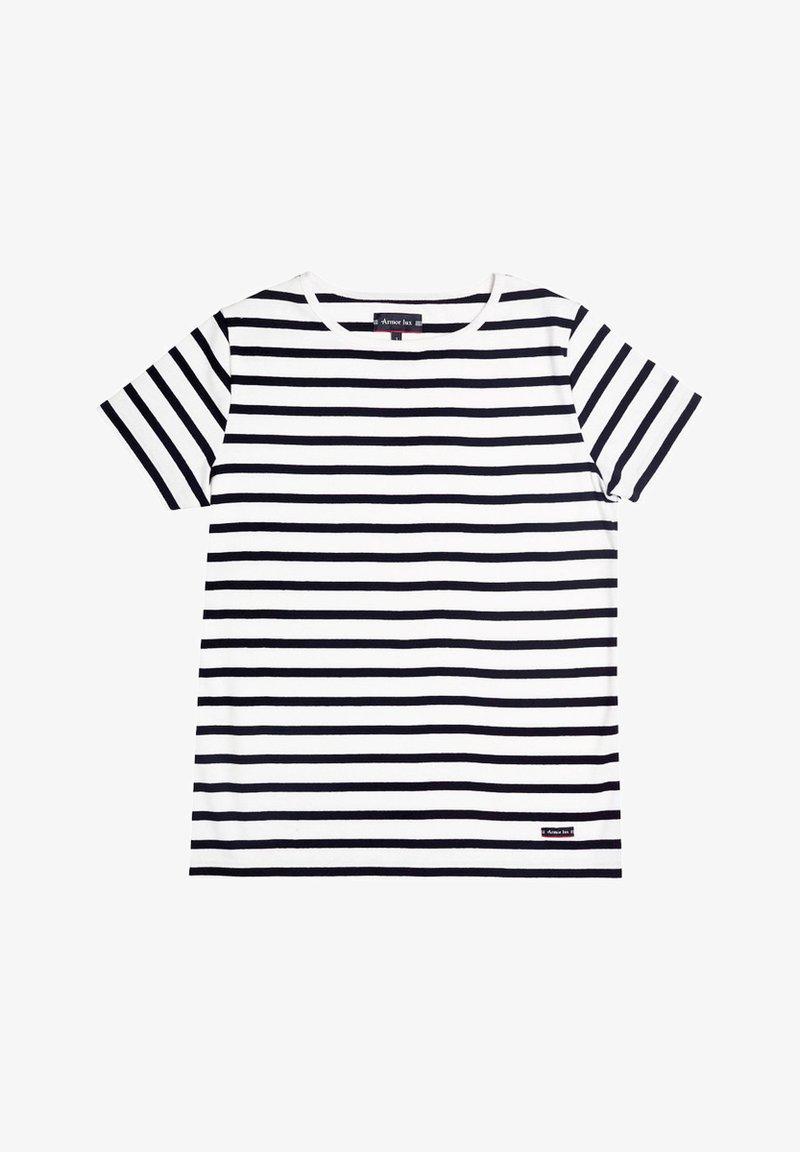 Armor lux - MORGAT MARINIÈRE - Print T-shirt - blanc/rich navy