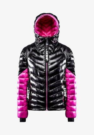 RISING RACER - Down jacket - black/flame pink