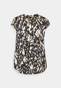 comma - KURZARM - T-shirt med print - black/beige - 1
