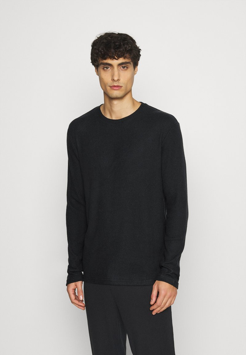 Pier One - RIBBED LOUNGE TOP - Pyjama top - black