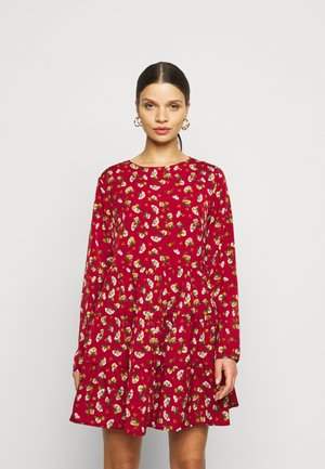 LONG SLEEVE SMOCK DRESS - Kjole - brick