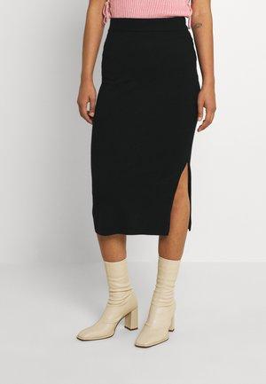 VIPILLA SLIT KNIT SKIRT - Pencil skirt - black