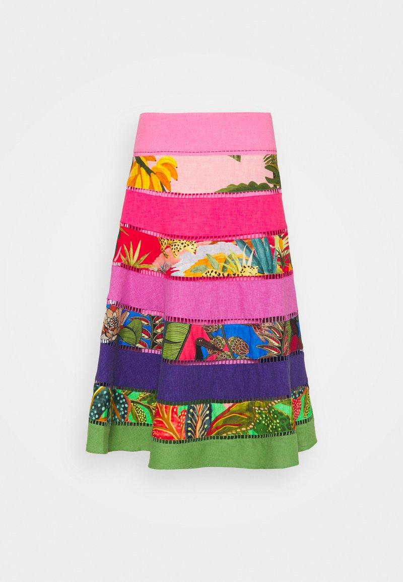 Farm Rio - RAINBOW MIXED TIERED MIDI SKIRT - A-line skirt - multi-coloured