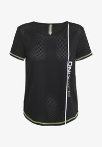 ONLY PLAY Petite - ONPALIX TRAINING TEE - Printtipaita - black/saftey yellow/iridescent - 0