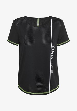 ONPALIX TRAINING TEE - T-shirt imprimé - black/saftey yellow/iridescent
