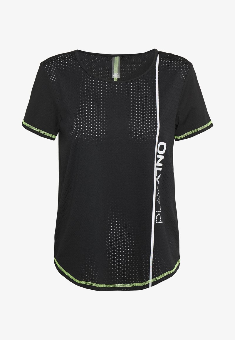 ONLY PLAY Petite - ONPALIX TRAINING TEE - Printtipaita - black/saftey yellow/iridescent