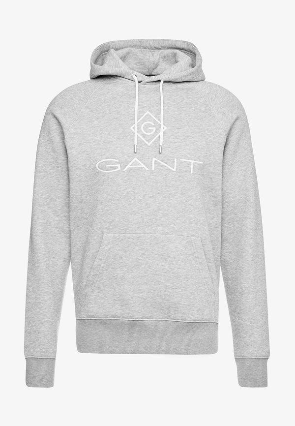 GANT LOCK UP HOODIE - Bluza z kapturem - grey melange/szary melanż Odzież Męska BTMZ